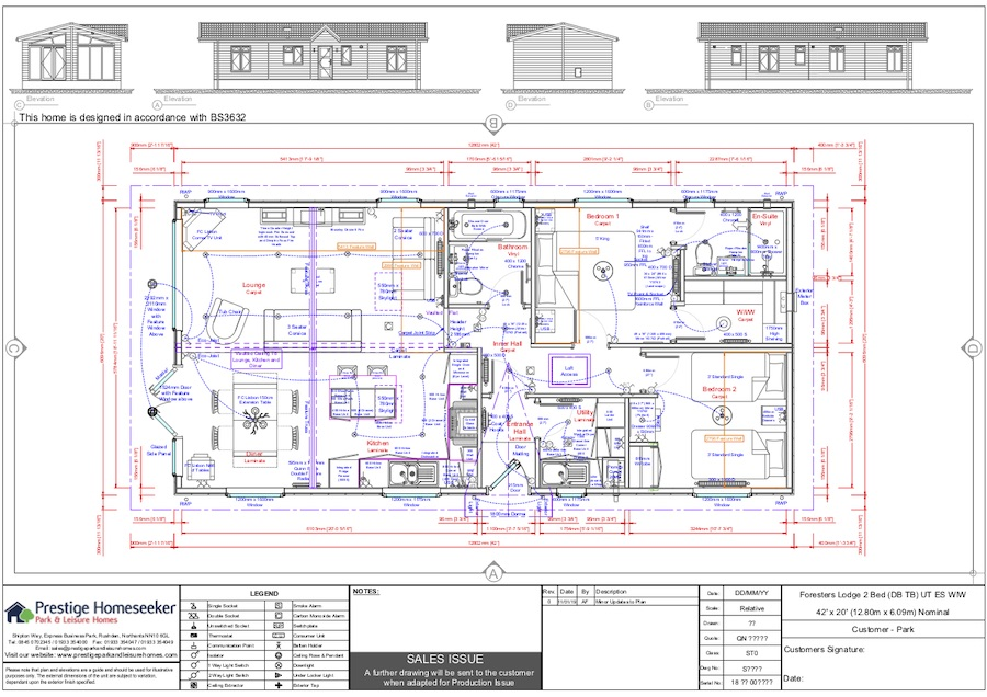 Foresters Lodge 42 x 20 - 2 Bed - Floorplan