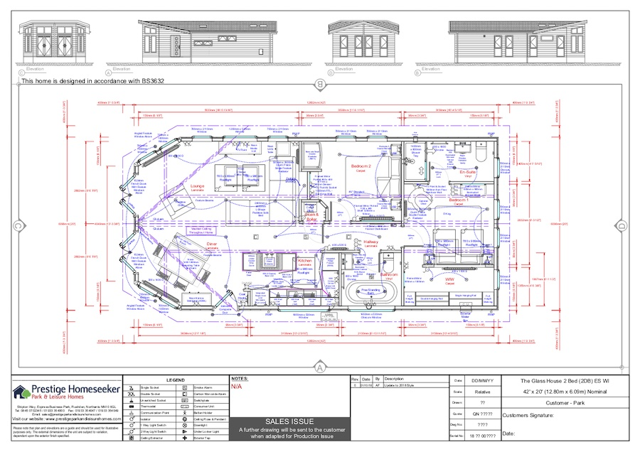 The Glass House 42 x 20 - 2 Bed - Floorplan