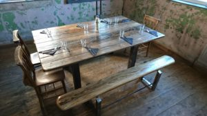 Artisan Crafted Table and Benches by JakJam in Steel and Wood