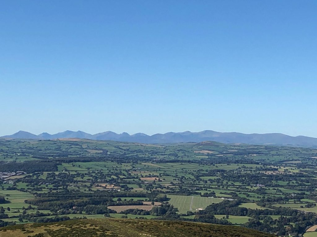 Views from Offa's Dyke on the Clwydian Range over towards Denbigh Moors and Snowdonia