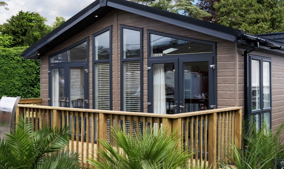 Country Lodge Holiday Home by Tingdene Showing Glass Frontage