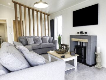 North Wales Open Plan Lounge area in Maderia Lodge by Aspire Leisure Homes-min