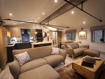 North Wales Luxury Rustica Lodge - open plan lounge kitchen dining - Aspire Leisure Homes Maes Mynan